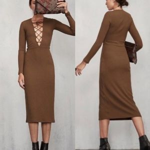 Reformation Edison Lace Up Ribbed Knit Dress S